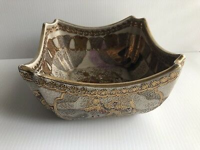 Antique/Vtg Gold Accents Embossed Decorative chinese porcelain bowl Hand Painted