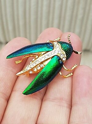 Vintage Signed Jewellery Iridescent Enamel 3D Scarab Beetle Bug Brooch Pin