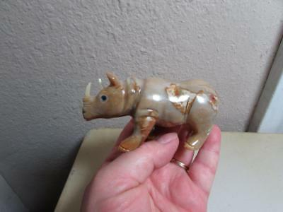 Rhino, Hand carved Stone from the Andes. Richly Hued Stone Rhinoceros Unique