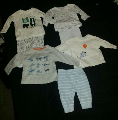 Baby boys 7 piece bundle long sleeved top tops & trousers 0-3 months