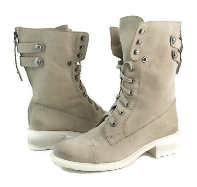 e16ad48696d51 Sam Edelman Darwin Womens Bone White Leather Suede Lace Up Mid Calf Boots  US 7.5