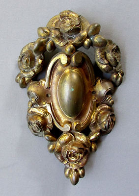 ANTIQUE 19th Century GILT BRONZE FRENCH CARTOUCHE with ROSES