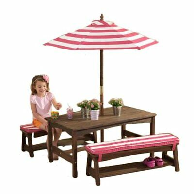 Outdoor Kid Patio Picnic Table, Bench Set  Children Pretend Furniture Backyard