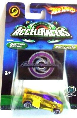 2005 HOT WHEELS ACCELERACERS AcceleCharged SERIES ANTHRACITE-YELLOW-PURPLE TIRES
