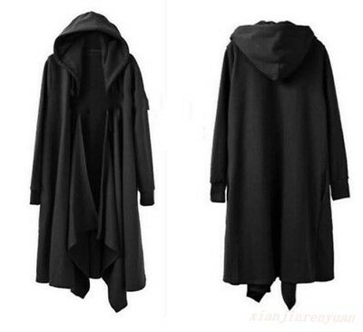Punk Fashion Mens Hooded Cloak Cape Trench Coat Loose Long Casual Jacket Gothic