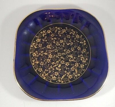 "Limoges Royal Mazarine Square Plate Cobalt Blue & Gold 8.5"" x 8.6"""