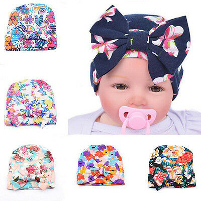 Eg_ Infant Girls Baby Floral Print Bowknot Beanie Hat Cap Hairband Headband Temp