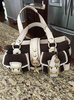 COACH BAG LEGACY MANDY IVORY CREAM AND BROWN LEATHER SATCHEL DUST BAG Excellent