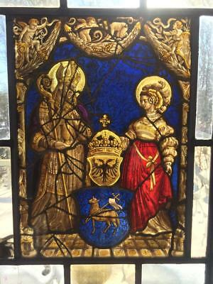 Antique Early 1900's Stained Glass Steel  Frame Casement Church Window