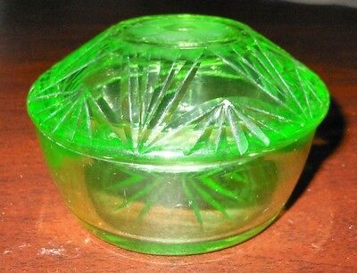 Vintage Round Green Depression Cut Glass Lidded Trinket Box