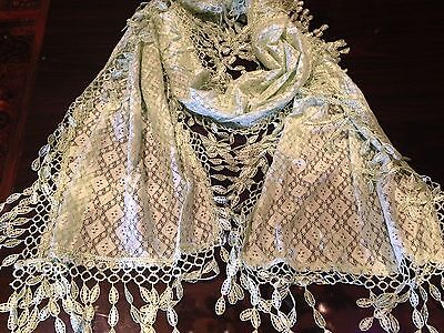 Vintage Victorian Style Antique Diamond Lace Style Mint Green Summer Scarf Wrap