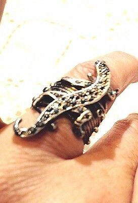 Vintage Antique Real  Marcasite Lizard Hand Made Heavy 925 Sterling Silver Ring
