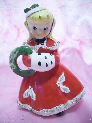 *SUPER RARE VTG* Japan Christmas Red Girl Angel Holds Wreath w/ Muff Figurine