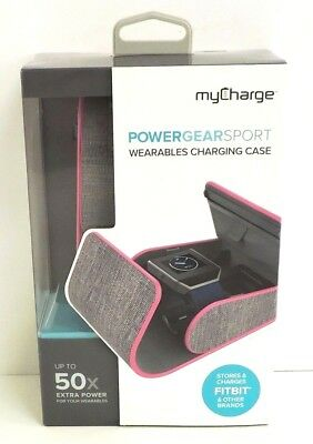myCharge PowerGearSport Fitbit Wearables Charging Case PINK/GREY Free Shipping