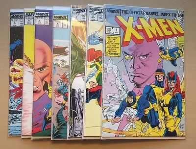 Official Marvel Index To The X-Men #1-7 (Marvel, 1987-1988) High Quality Set!