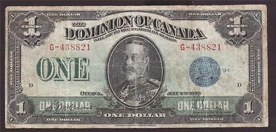 1923 Dominion of Canada One Dollar banknote DC-25c no holes no tears VG10