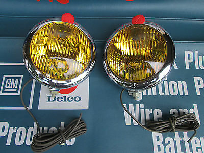 Vintage NOS S&M Fog Lamps 50's red top cap amber driving light Chevy Ford Buick