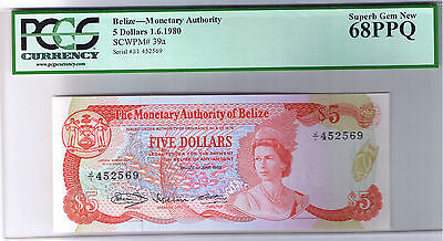 1980 Belize $5 PCGS Superb Gem New 68 PPQ Top Pop Finest Known 5 Dollar P 39a