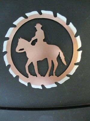 Cowboy On Horse Cut Out Western  Metal Rustic Wall Decor Home Barn Office Art