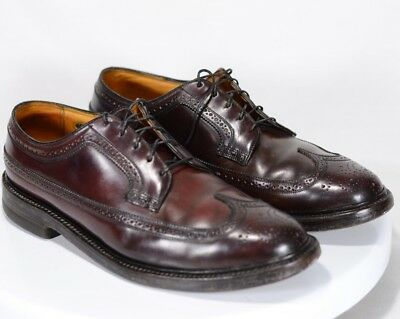 Vintage Florsheim Imperial Shell Cordovan Wingtips Brown 93605 Shoes Size 12 12E
