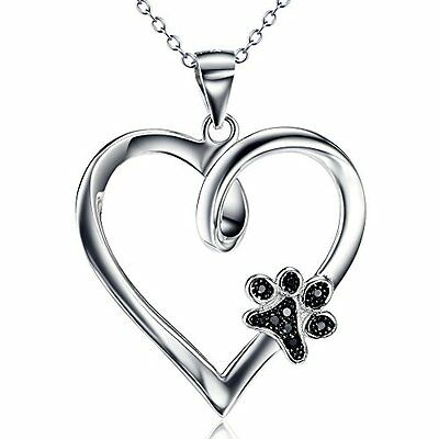 925 Sterling Silver Forever Love Heart Puppy Paw Pendant Necklace, Rolo Chain
