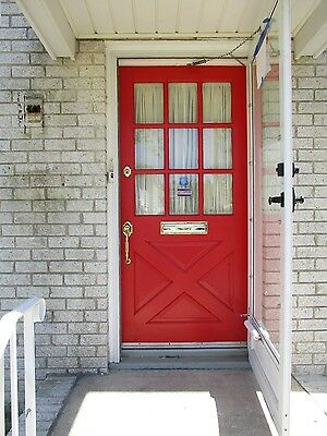 Exterior Antique Wood Door 9 Panes Glass  Criss Cross Bottom Red!!!