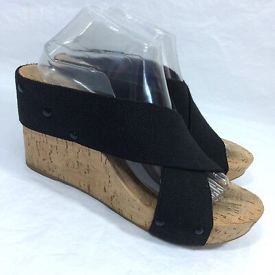b8a35ddb197d Lucky Brand Miller 2 Sandals Platform Cork Wedge Stretch Canvas Black 9.5  M 39.5