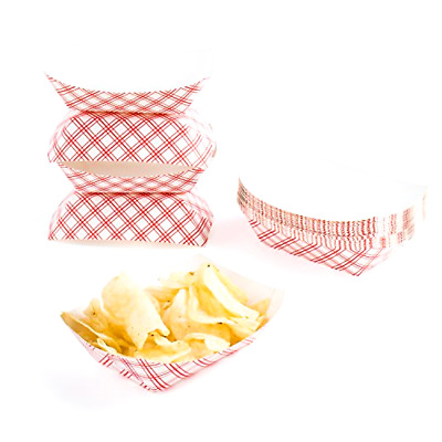 Paper Food Tray Disposable 4 x 6 Inches Capacity 50 Pieces Red and White Color