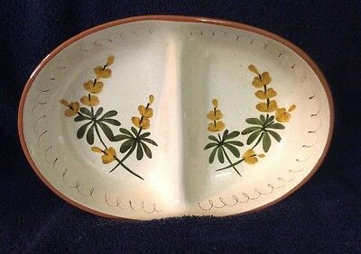 """Deco Mod Stangl Pottery Divided 10 1/2"""" Oval Divided Serving Dish~Golden Blossom"""