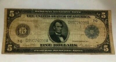 RARE 1914 $5 Federal Reserve Note Blue Seal Fr# 871 Chicago 7-G White.Mellon