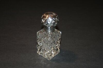 Sterling Silver & Cut Crystal Glass Cologne Bottle - #11