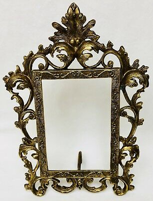 Antique Victorian Cast Metal FRAME 4 x 6 Ornate Leaves  Easel Style Vintage