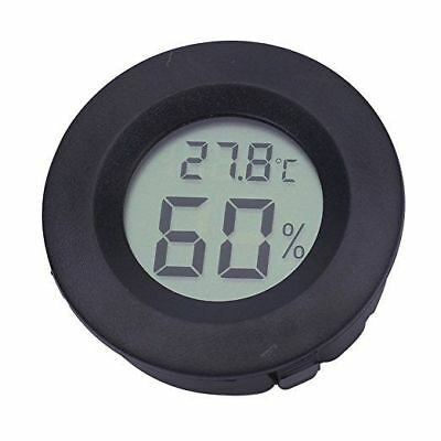 Digital Cigar Humidor Hygrometer Thermometer Temperature Round Black
