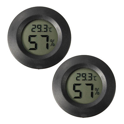 2 x Digital Cigar Humidor Hygrometer Thermometer Temperature Round Black