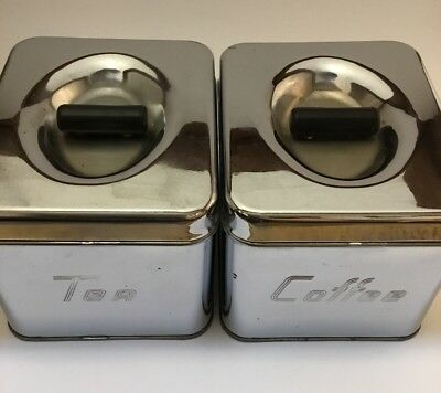 Vintage Chrome Canette Canisters Tea & Coffee 2 Piece Set Stackable