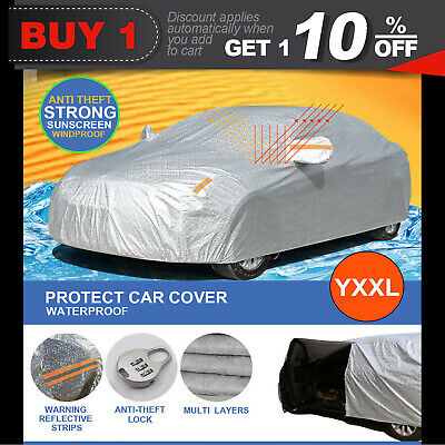 Aluminum Waterproof 3 Layers Double Thick Car Cover Rain Resistant UV Dust YXXL