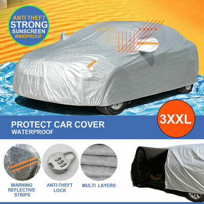Aluminum Waterproof 3 Layers Double Thick Car Cover Rain Resistant UV Dust 3XXL