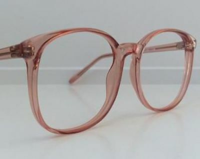 Vintage Pink Eyeglass Frames, Oversized 90s Peach Salmon Glasses, Clear Lens NOS