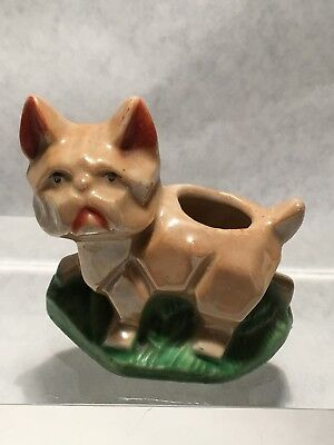 FRENCH BULLDOG Vintage Toothpick Holder  Lusterware Japan Art Deco Styling