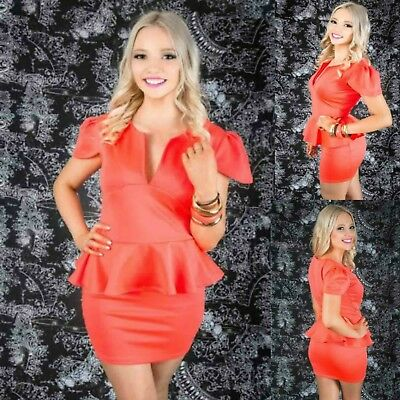 Sz 12 14 Coral Peplum Cap Sleeve Sexy Formal Gown Party Wear Cocktail Club Dress