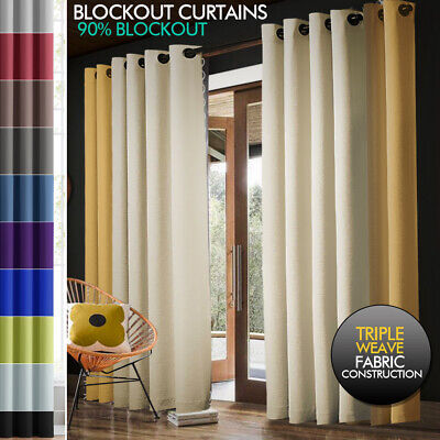 2X 100% Blockout Curtains Panels 3 Layers Eyelet Room Darkening 230cm Drop