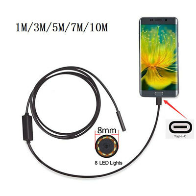 8mm 2MP 8LED 1M Android USB Type C Endoscope Tube Snake Inspection Video Cameras