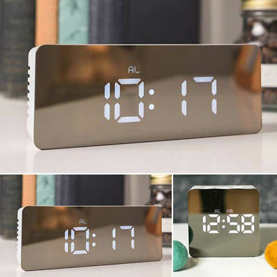 Unique LED Digital Alarm Clock Night Light Thermometer Display Mirror Lamp Hot