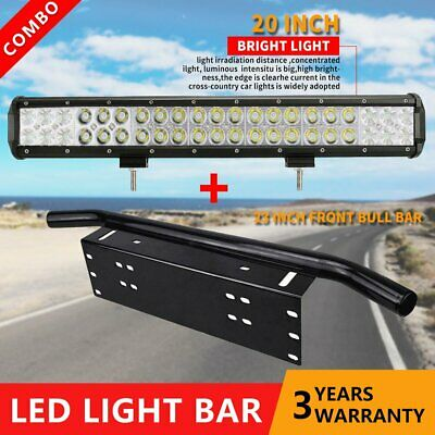 23inch 210W CREE LED Light Bar SPOT FLOOD Driving Work Number Plate Frame Black