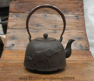 Marked Japan Japanese  Iron Two Elephant Flagon Kettle Wine Tea Pot