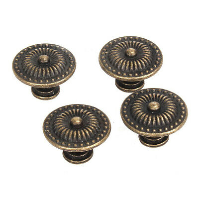 4x Decorative vintage round furniture buttons bronze cabinet drawer Handle Z5O4