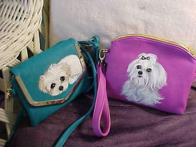 Two Little Maltese  Hand Painted Purses