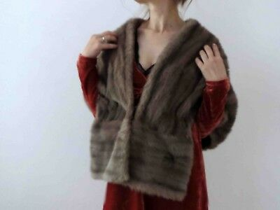 50s 60s Ash Brown Mink Genuine Fur Stole One Size Buy 3+items for FREE Post