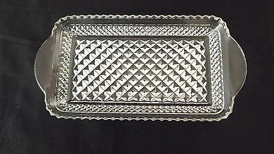 Vintage Indiana Clear Glass Rectangle Diamond Point Serving/Vanity Tray