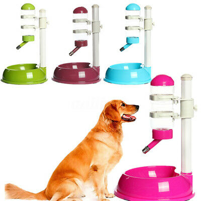 Pet Dog Rabbit Water Drinker Dispenser Food Stand Deluxe Feeder Dish Bowl Bottle